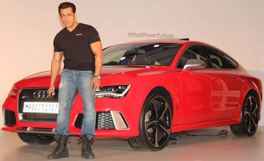 Salman posing with his classy Sportsback at Audi showrrom