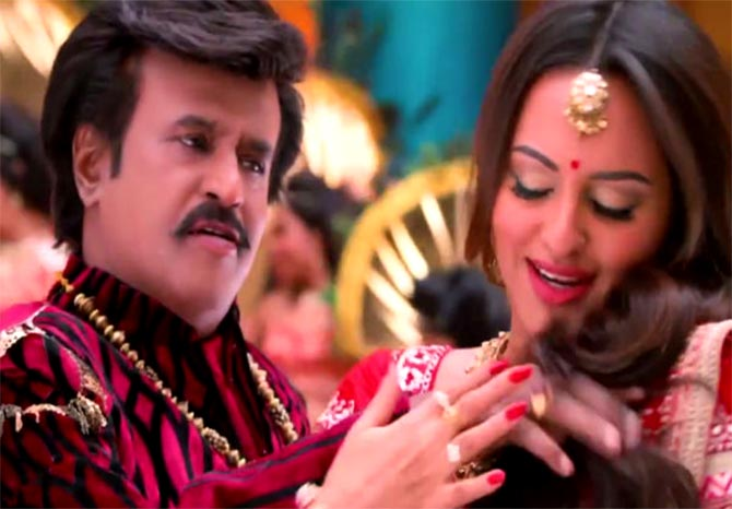 Sonakshi Sinha and Rajinikanth