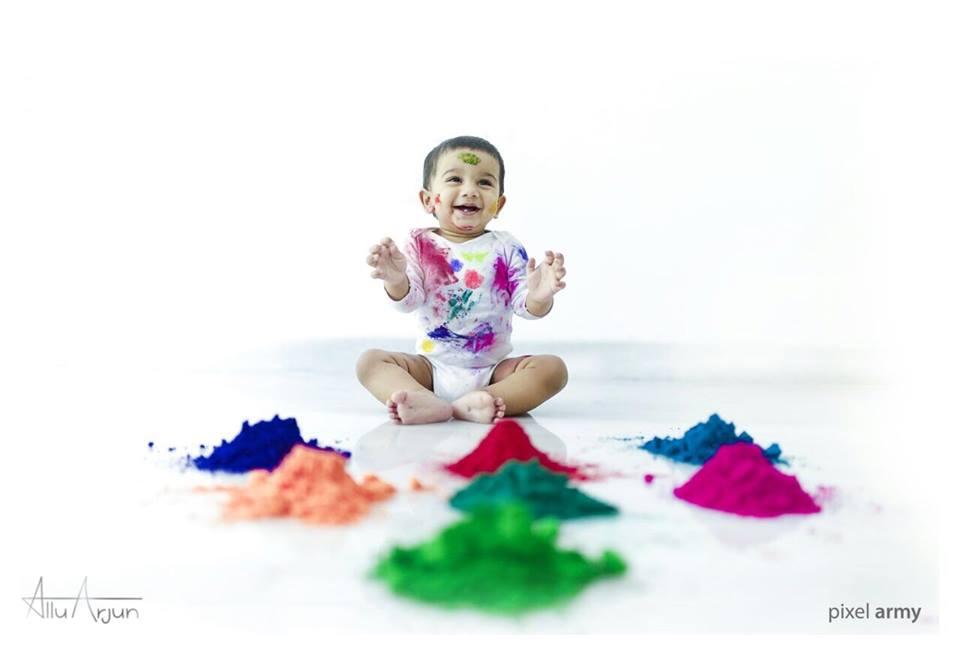 Allu Ayaan Colorful Holi
