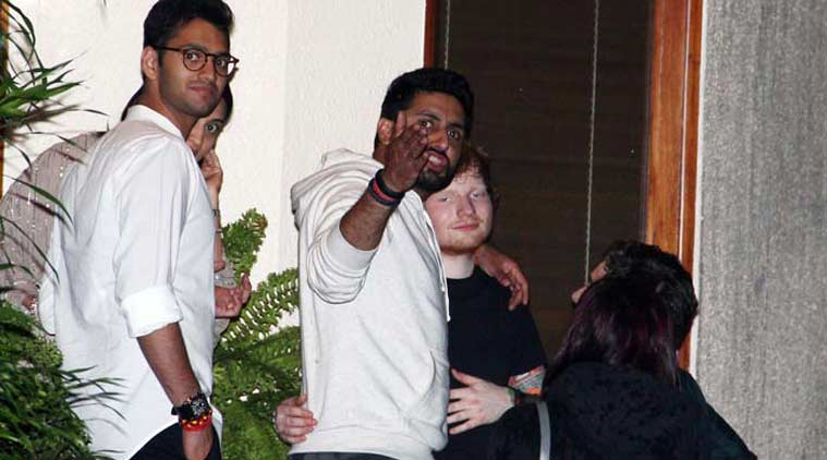 Abhishek Bachchan and Ed Sheeran in Mumbai