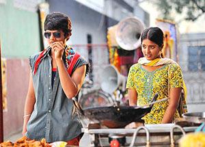 Akash Puri and Ulka Gupta in Andhra Pori Movie