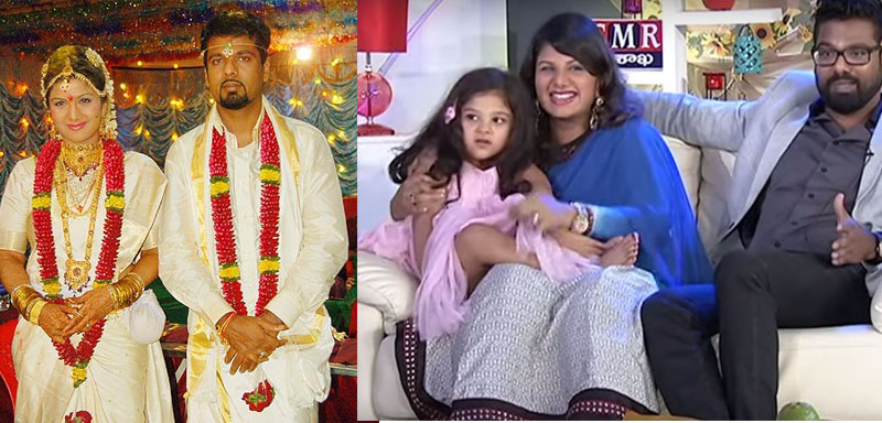 Heroine Rambha with her husband and their daughters