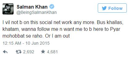Salman Khan's Tweet
