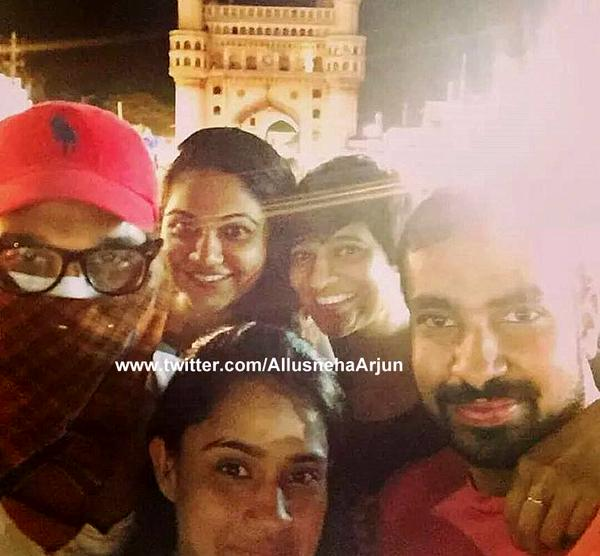 Allu Arjun with a mask at Charminar