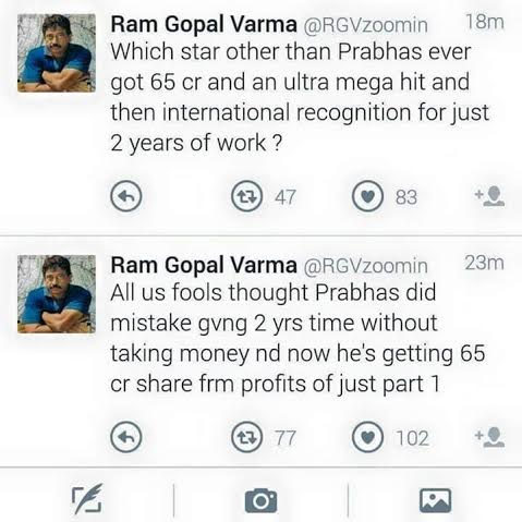 RGV Tweets About Prabhas Remuneration