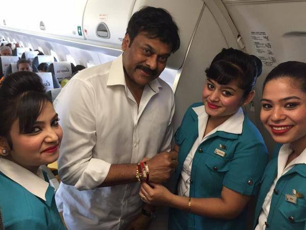 Air Hostess Ties Rakhi to Chiranjeevi