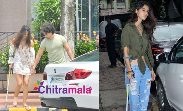 DishaPatani spotted with leg crutches