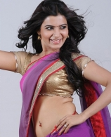 actress-samantha-hot-navel-show-photos-in-violet-saree
