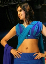 heroine-samantha-hot-navel-pics-in-blue-dress